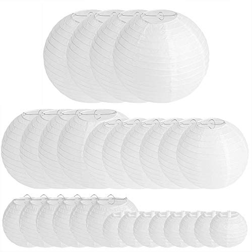 28 Packs White Paper Lanterns Decoration for Weddings, Birthdays, Parties and Events - Assorted Round Sizes (4,6,8,10,12)
