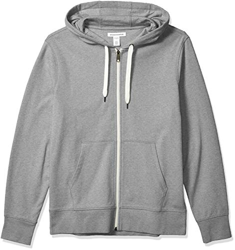 Amazon Essentials Men's Lightweight French Terry Full-Zip Hooded Sweatshirt, Grey, Large