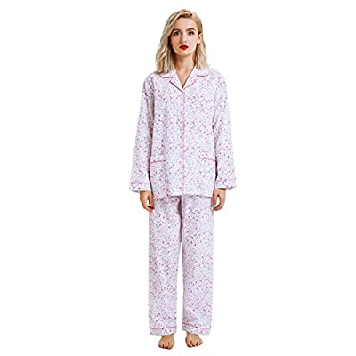 GLOBAL Boyfriend Button Down Pajama Set, Long Sleeve Sleepwear Set with Elastic Pants (L, White with Rose flower print) from