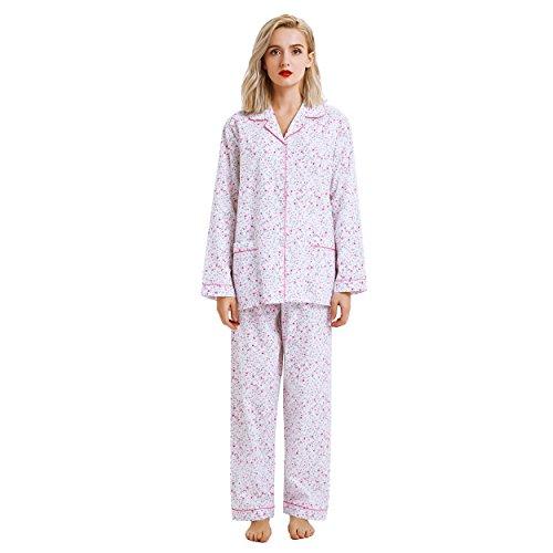 Boyfriend Button Down Pajama Set, Long Sleeve Sleepwear Set with Elastic Pants (M, White with Rose Flower Print)