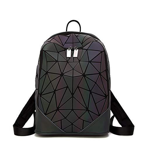 Mochila de Estilo japonés Mochila Escolar Mate Luminosa Marea Rombo geométrico Mochila Bolsos de Costura de Cubo de Rubik ((Triángulo) Negro)