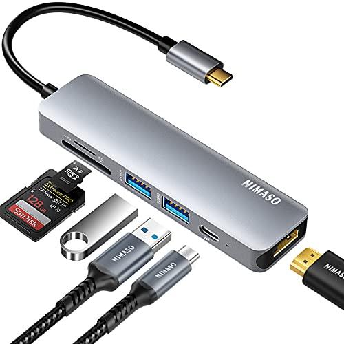 Nimaso Hub USB C,7 in 1 Adattatore USB C con HDMI 4K,2 Porte USB 3.0, Lettore SD/Micro SD,Porta di Ricarica PD da 60W per MacBook PRO,MacBook Air,iPad PRO,Google Chromebook e Altri Dispositivi USB C