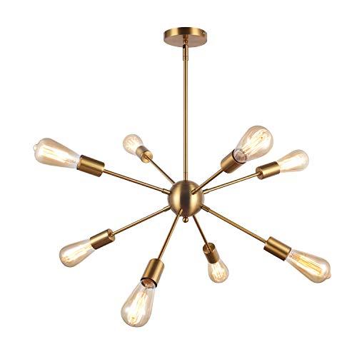 SISVIV Sputnik Lámpara de Techo Araña Moderna 8 Brazos Lampara Colgante Vintage Industrial Iluminación para Salon Comedor Cocina Dormitorio Dorado