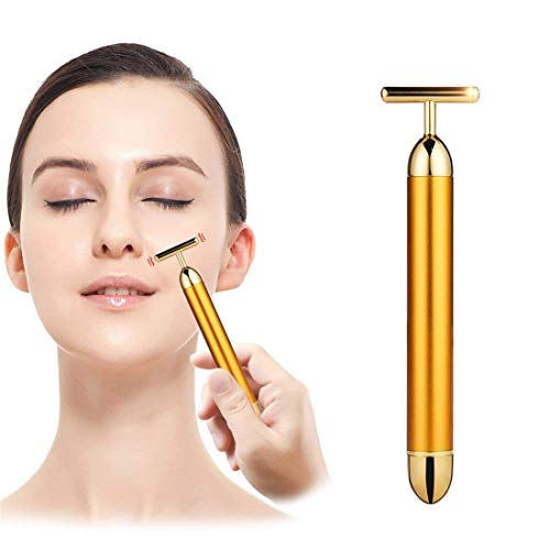 KTM Healthcare 1Pc 24K Gold Energy Beauty Bar Electric Vibration Facial Massage Roller Waterproof Face Skin Care T-Shaped Anti Wrinkle Massager for Forehead Cheek Neck Clavicle Arm Leg