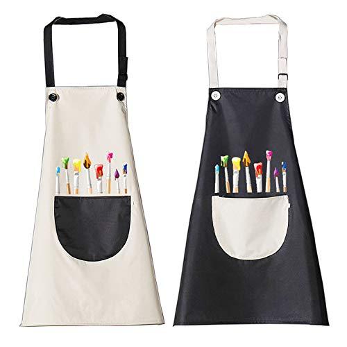 2 Stück Kinder Schürzen Set mit Taschen, Verstellbare Kleinkind Kochschürze, Jungen Mädchen Malschürze Kinder Verstellbare Kochschürze für Basteln Malen Backen Kochen (schwarz, grau7-13 Jahre)