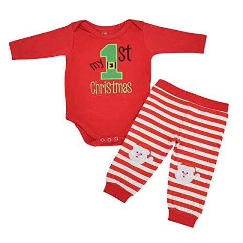 Unique Baby Unisex My 1st Christmas Onesie Outfit Santa Layette Set (6 Mo) Red