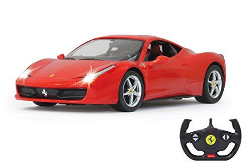 Jamara 404305 Auto Ferrari 458 Italia 1:14 2,4GHz-offiziell lizenziert, bis 1 Std. Fahrzeit bei 11 Km/h, LED, Perfekt nachgebildete Details, detaillierter Innenraum,hochwertige Verarbeitung, rot