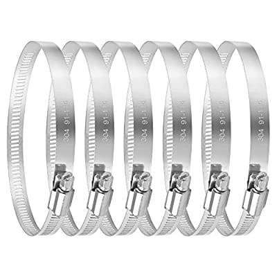 MIAHART 4 inch Hose Clamp Adjustable 304 Stainless Steel Duct Clamps 6 Pack Worm Gear Adjustable 91mm-114mm Pipe Clamp Worm Drive Clamp for Automotive Mechanical Agriculture