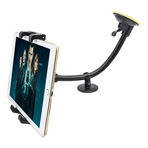 """Tablet Car Windshield Holder, EXSHOW Long Arm Suction Cup Car Windshield Tablet Mount for iPad Pro 12.9 11 10.5 9.7, iPad Mini iPad Air 5 4 3, Samsung Galaxy Tabs and More 7-13"""" Tablets"""
