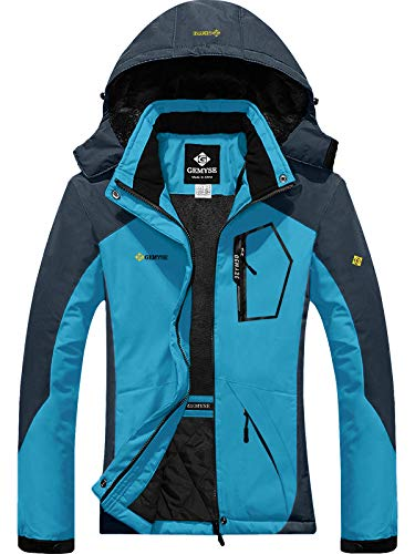 GEMYSE Women's Mountain Waterproof Ski Snow Jacket Winter Windproof Rain Jacket (Acid Blue,S)