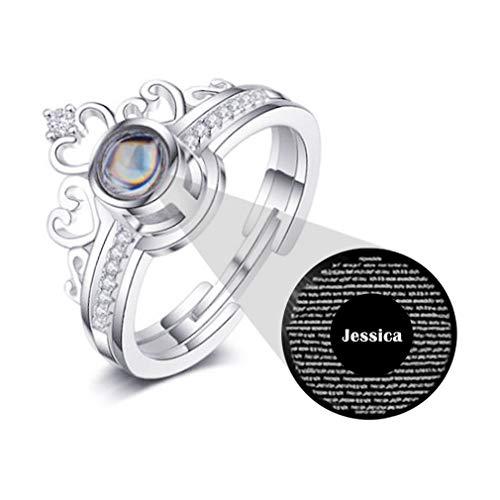Gepersonaliseerde Ring Aangepaste Fotoprojectie Ring 100 Talen Ik Hou Van Je Beloof Ring Moederdag Cadeau