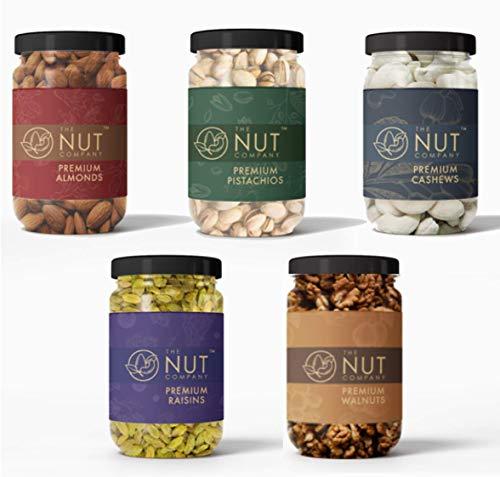 The Nut Company | Dry Fruits Combo Value Pack 1.175kg - Premium Cashews (250g) Almonds (250g) Pistachios (250g) Walnut Kernels (175g) Green Raisins (250g) | 100% Fresh & Natural | Healthy Snack