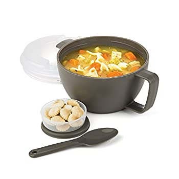 Prep Solutions by Progressive Microwave Soup On-the-Go Gray - PS-91GY Leak-Proof Cool-Touch Handle Spoon Inlcuded