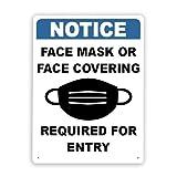Rótulos metálicos,MASCARILLA O CUBIERTA FACIAL OBLIGATORIA PARA ENTRAR,8 x 12 pulgadas,letrero de aviso,letrero de advertencia y decoración del logotipo