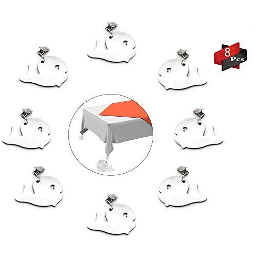 Anyingkai 8Pcs Tischdeckenbeschwerer Outdoor, Tischdeckenbeschwerer Edelstahl, Tischdeckenbeschwerer Set, Tischtuchhalter für Drinnen Draußen, Tischdeckenbeschwerer mit Klammer (Wal)