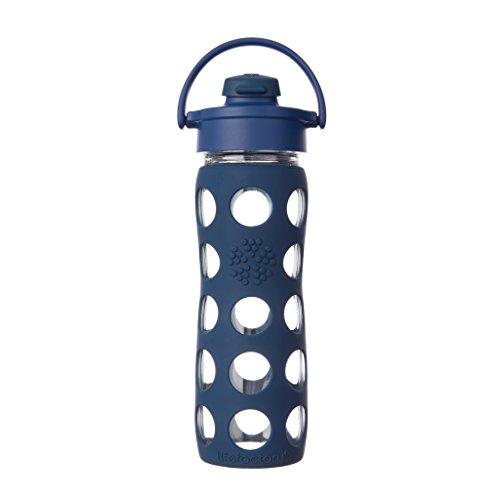 Lifefactory Flip Top Deckel Glas-trinkflasche, midnight blue, 475ml