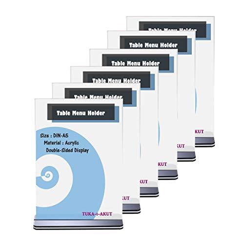 TUKA 6x A5 Menu Soporte Doble Cara, Forma de T con Base, Soportes de Sobremesa para Carteles, Menús, Promociones, Porta Carteles. T Expositor de Mesa, Acrílico Transparente, Vertical, TKD8205-A5-6x