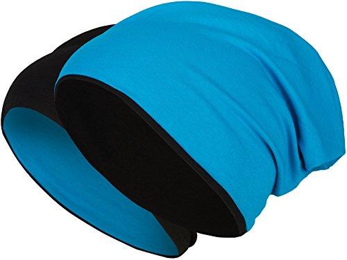 2 in 1 Wendemütze - Reversible Slouch Long Beanie Jersey Baumwolle elastisch Unisex Herren Damen Mütze Heather in 24 verschiedenen Farben (8) (Schwarz/Blau)