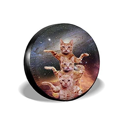 Lewiuzr Divertido Galaxy Dancing Cats Cubierta de neumático de Repuesto Protector Solar de poliéster Cubiertas de Rueda Impermeables Ajuste Universal