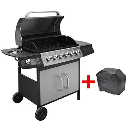 Festnight BBQ Gasgrill Barbecue-Grill Grillwagen Gas-Grill 6 Große Brenner und 1 Seitenbrenner Schwarz und Silberfarben