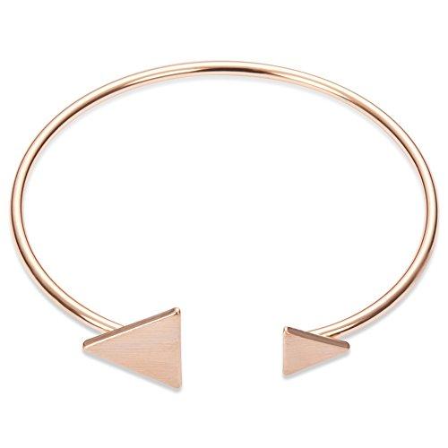 puissant Bracelet SHEGRACE pour femme en or rose, simplement ouvert, ajustable, deux triangles…