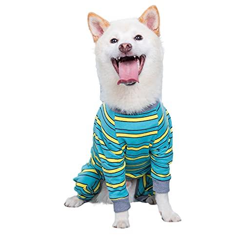 Ruiqas Ropa para perro para mascotas Traje de recuperación de perro grande a rayas Mono de...