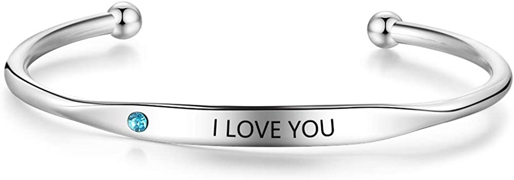 GaoS Personalized Women Cuff Bracelets with Simulated Birthstone Engraving ID Message Stainless Steel Bangles