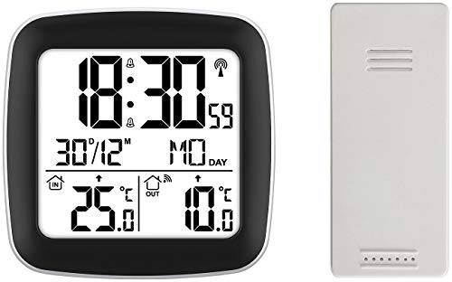 infactory Funk-Thermometer außen: Digitaler Funkwecker mit Dual-Alarm, Thermometer, Außensensor, Datum (Funkwecker mit Temperaturanzeige)