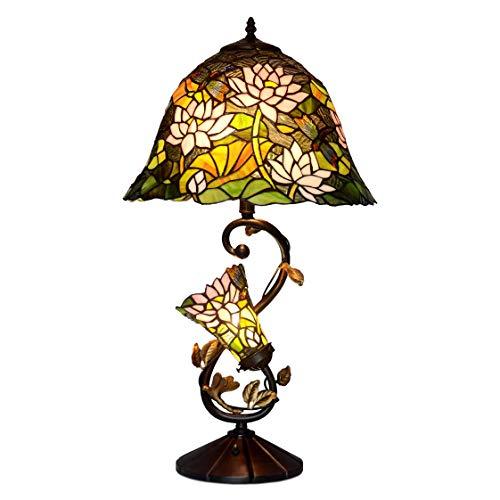 ADM - Tischlampe mit zwei Lichtpunkten und Lampenschirm aus Glas im Tiffany-Stil mit Blumenmuster, Serie Fiori, mehrfarbig, Größe 74 x Ø41 cm - GF16313