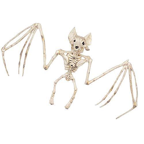 Halloween squelette squelette squelette horrible chauve-souris squelette simulation modèle chauve-souris vive décoration de jardin pieds suspendus et mâchoires mobiles (1)