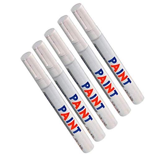 Techwills Weiß Reifenstift Reifenmarker Auto, Motorrad Treten Fahrradreifen Reifenmarkierungsstift Reifenstift Set Marker Pen Kit Beschriftung Wasserfest Wetterfest (5 Stück)