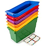 Really Good Stuff Durable Magazine, Book, Folder, File and Binder Holders – Ideal for Narrow or Vertical Storage Needs – Instantly Color Code Home or Classroom – Assorted Primary Colors (Set of 6)