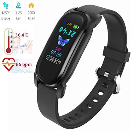 Masskko Smartwatch Fitness Armband Fitness Tracker Voller Touch Screen Smart Watch IP68 Wasserdicht Fitness Uhr mit Pulsmesser Blutdruckmesser Vibrationsalarm Anruf SMS für Damen Männe,Schwarz