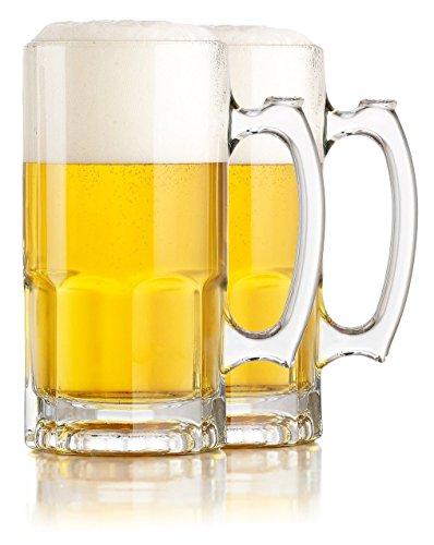 Serami Hikari Design 1L (34oz) German Style Extra Large Super Glass Beer Steins, Set of 2