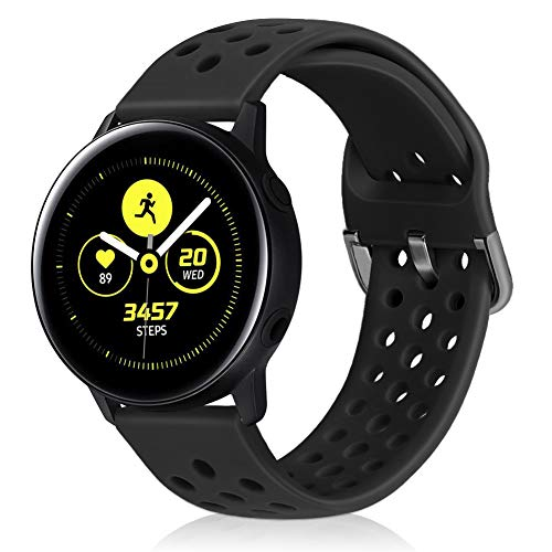 Runostrich 20mm Schnellverschluss-Silikonarmband, Gummi-Ersatzuhrenbänder Kompatibel mit Galaxy Watch 42mm Bändern / Active2 44mm 40mm, Pebble, Ticwatch, Männer Frauen (20mm, Schwarz)