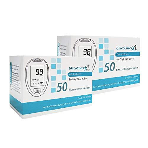 GlucoCheck XL - 100 Blutzuckerteststreifen zur Kontrolle des Blutzucker-Wertes - Anwendbar mit dem GlucoCheck XL Blutzuckermessgerät