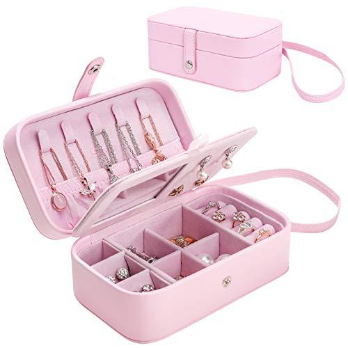 Seelux Mini Scatole Portagioie da Viaggio con Specchio, Organizzatore Gioielli Piccolo da Donna, Jewelry Box per Orecchini, Anelli, Collane, Braccialetti, Rosa