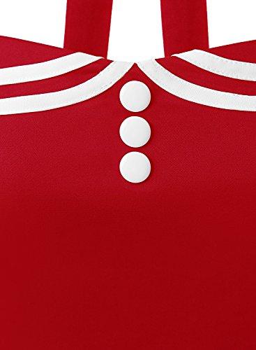 Timormode Rockabilly Kleider Neckholder 50s Vintage Kleid Retro Knielang Kleider Damenkleider Festlich Cocktailkleider 10387 Rot XS - 5