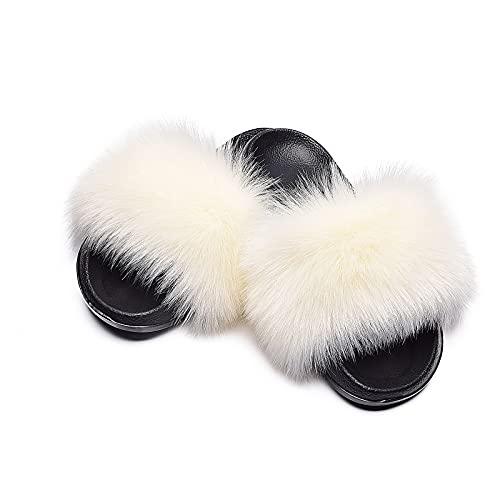 Sandalen Damen Sommer Beiläufiger Mode Hausschuhe Bequeme Plüsch Flat Slippers Neue Gummi Weicher Boden Badeschuhe All-Match Anti-Rutsch Frauen Schlafzimmerschuhe