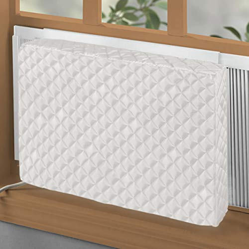 BJADE'S Indoor Air Conditioner Cover for Window AC Units,White Double Insulation Inside Covers (28L x 20H x 4D inches)