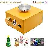 InLoveArts Ricaricabile Mini Tornio per Ceramica Attrezzo di Modellatura dell'argilla di Lavoro per Bambini e Principianti, Ceramiche elettriche con 2 Giradischi (6,5/10 cm) e Strumento per Modellare