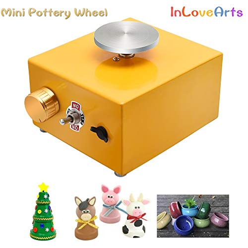 InLoveArts Mini Töpferscheibe Maschine für Kinder und Anfänger, Elektrische Keramikmaschine mit 2 Plattenspielern (6,5 cm/10 cm) und Keramikformwerkzeug DIY Clay Werkzeug Wiederaufladbar