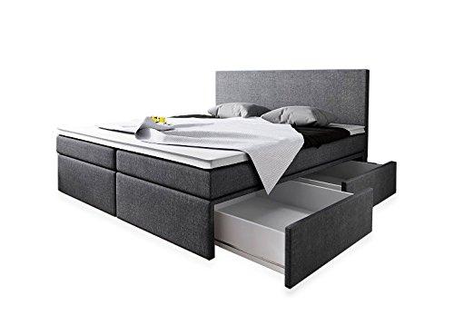 Wohnen-Luxus Boxspringbett 180x200 mit Bettkasten Grau Stoff Hotelbett Polsterbett Matratze Modell Roma (180 x 200)