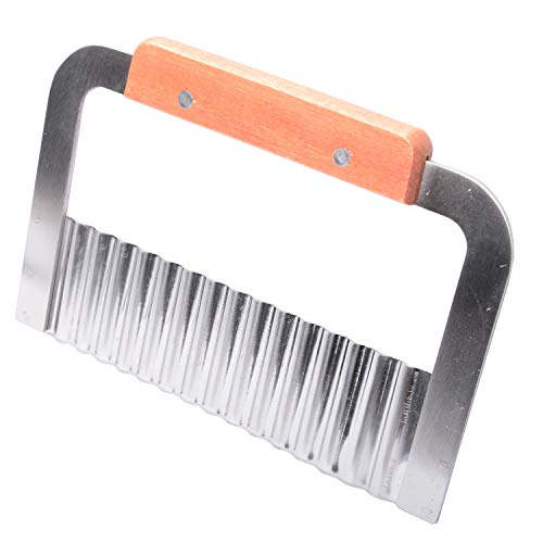 MUZOCT Crinkle Cutter Potato Slicer Tool Stainless Steel Blade French Fry Vegetable Salad Chopping Knife