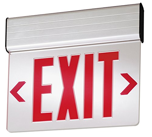 Lithonia Lighting EDG 1 R M6 LED Stencil Edge Surface-Mount Exit Sign, 2.5 watts, Red, AC-Only
