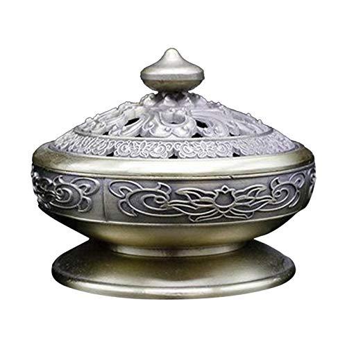 Non-brand Quemador de Cono de Incienso de Metal Budista Loto Tibetano Soporte de Incienso reflujo de Cascada aromaterapia Espiritual para el Templo, habitación - de Bronce