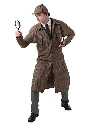 Adult Sherlock Holmes Costume Classic Detective Outfit Large Brown