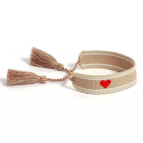 Pulsera tejida beige súper bonita, pulseras de joyería Vintage hechas a mano para verano, vacaciones en la playa, cuerda de borla de amistad todos los días Pulsera de la amistad regalo de cumpleaños