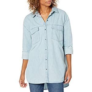 Amazon Brand – Goodthreads Women's Denim Oversize Two-Pocket Tunic Shirt