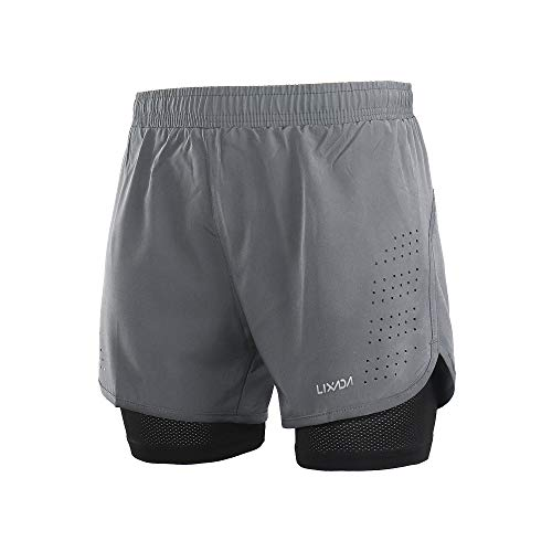 Lixada Men's 2-in-1 Running Shorts Quick Drying Breathable Active Training Exercise Jogging Cycling Shorts (Grey2, M)